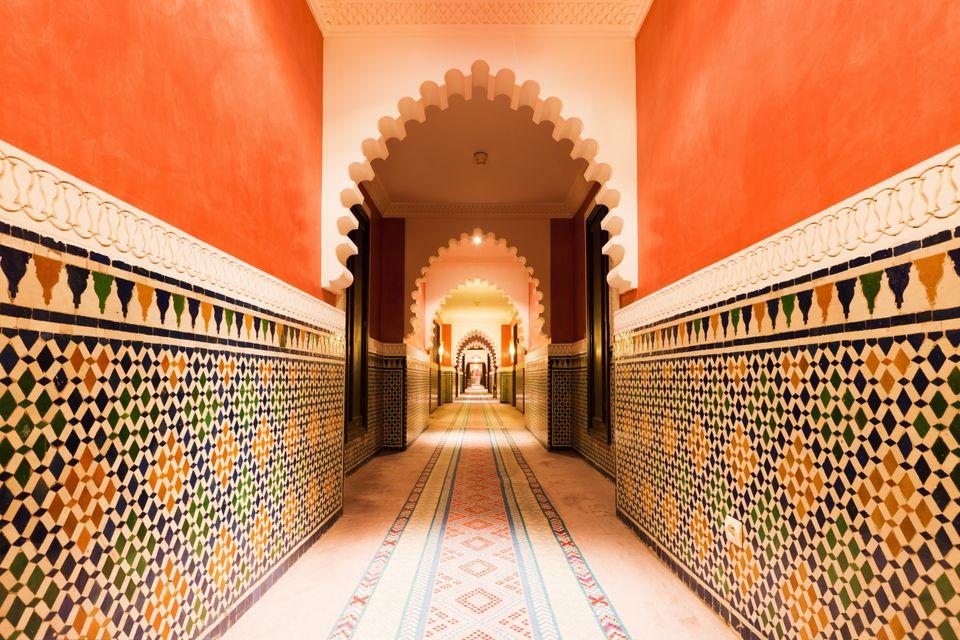 Arabian architecture interiors in Marrakech, Morocco