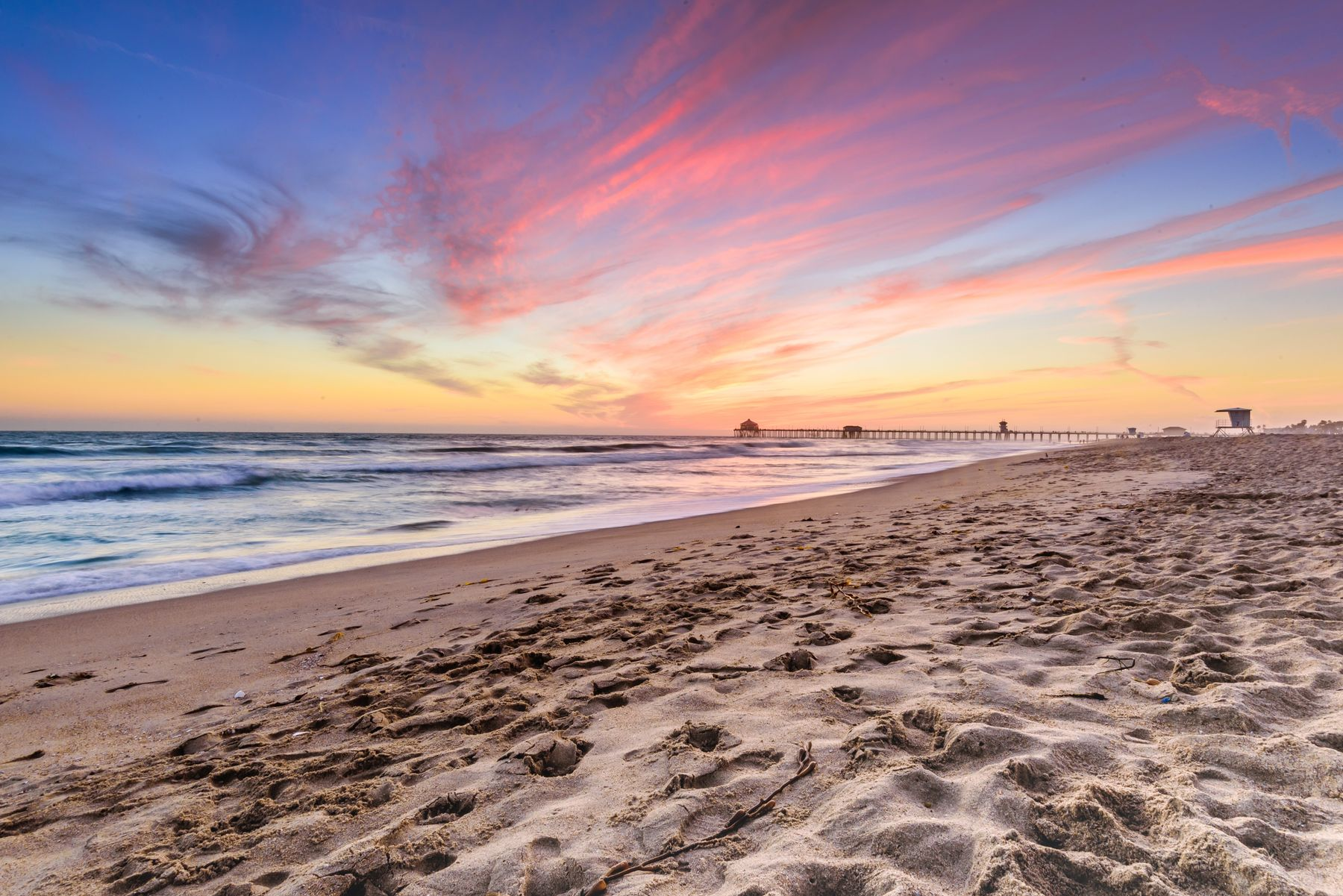 A colourful sunset at the beach