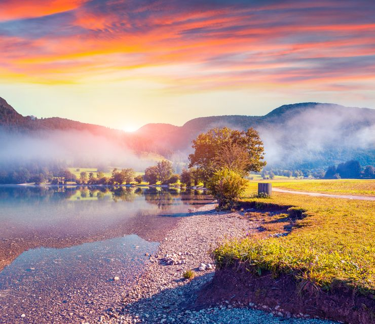 Sunset in Bohinj Lake, Slovenia
