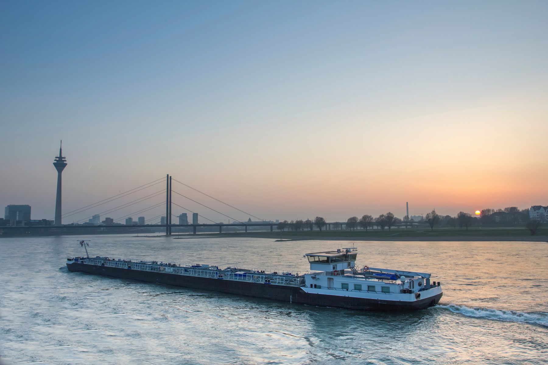 Ship on the Rhine at sunset