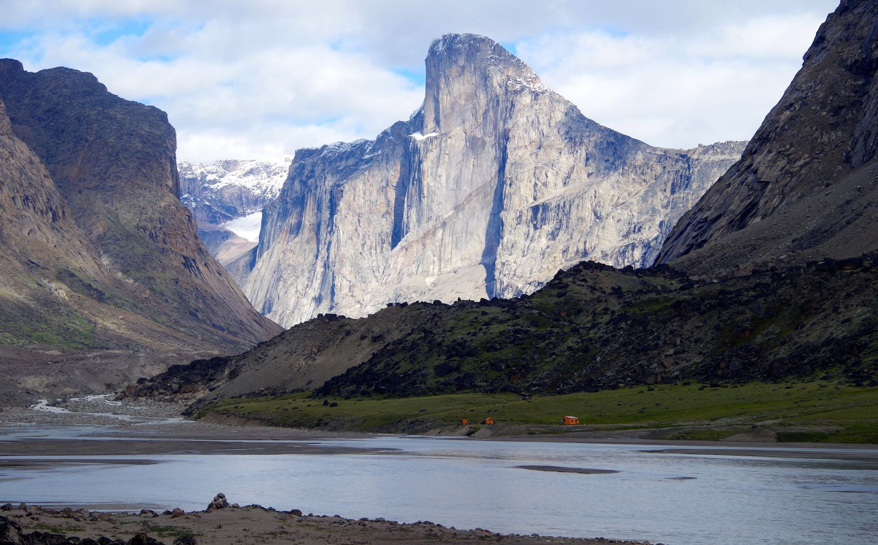 Mount Thor by the lake in Auyuittuq National Park in Nunavut, Canada