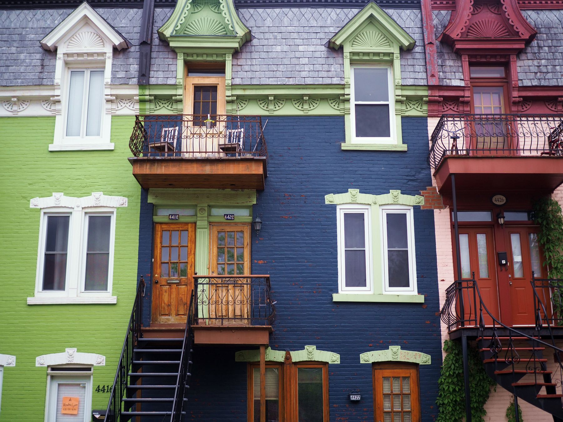 colourful houses in Montreal's Le Plateau