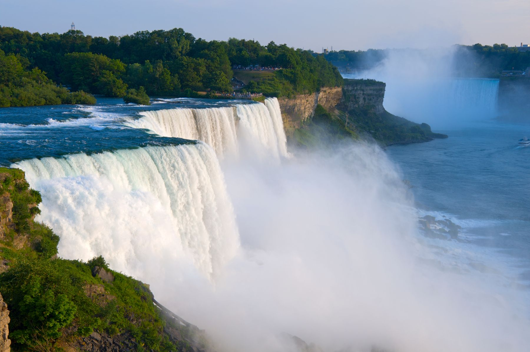 view of Niagara Falls with misty water