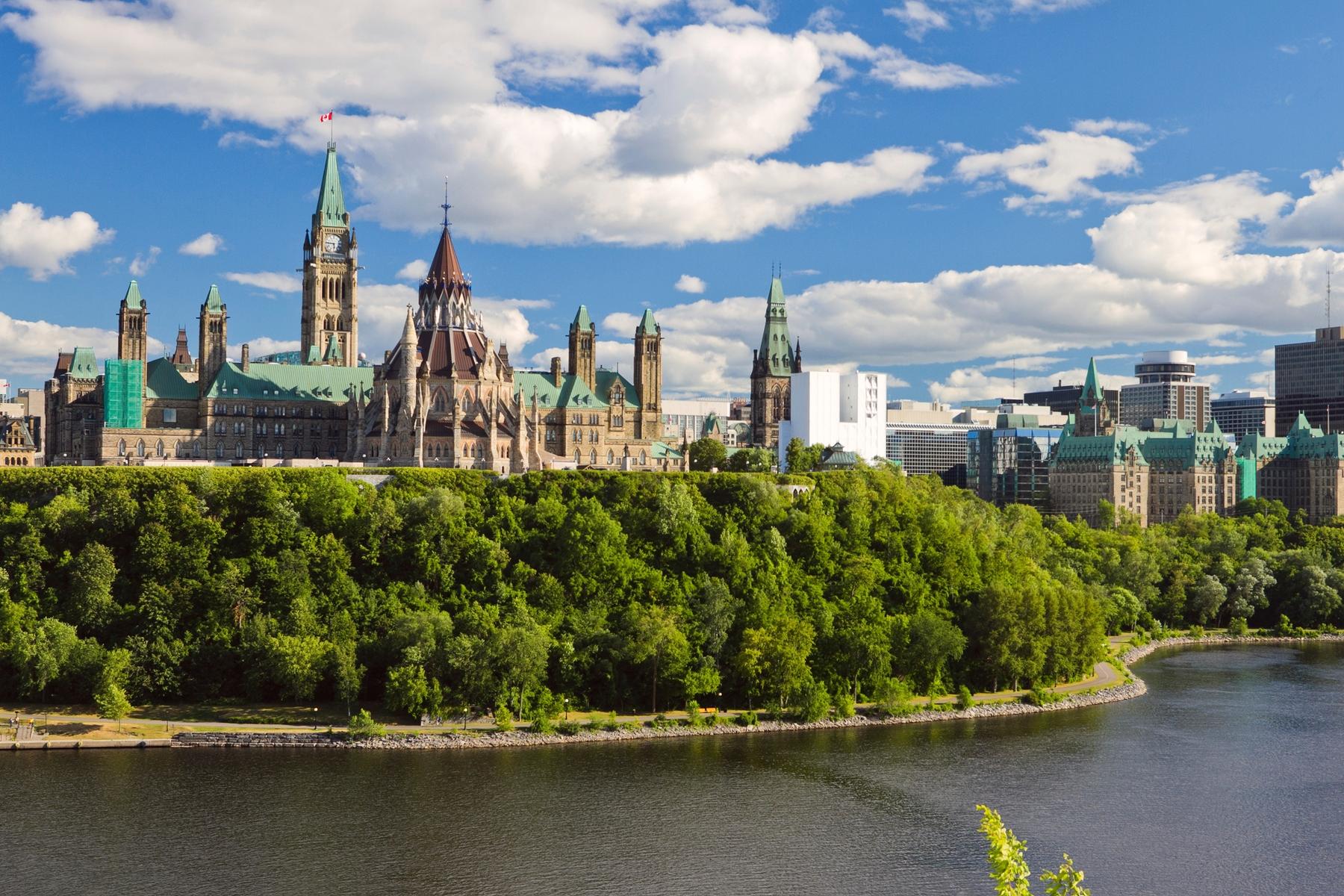 Vue depuis le Parlement d'Ottawa vers Gatineau, Québec, Ontario, Canada