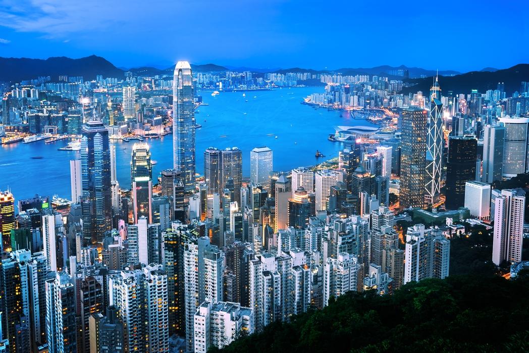 The skyline on Hong Kong