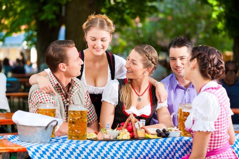 picnic en un biergarden en munich