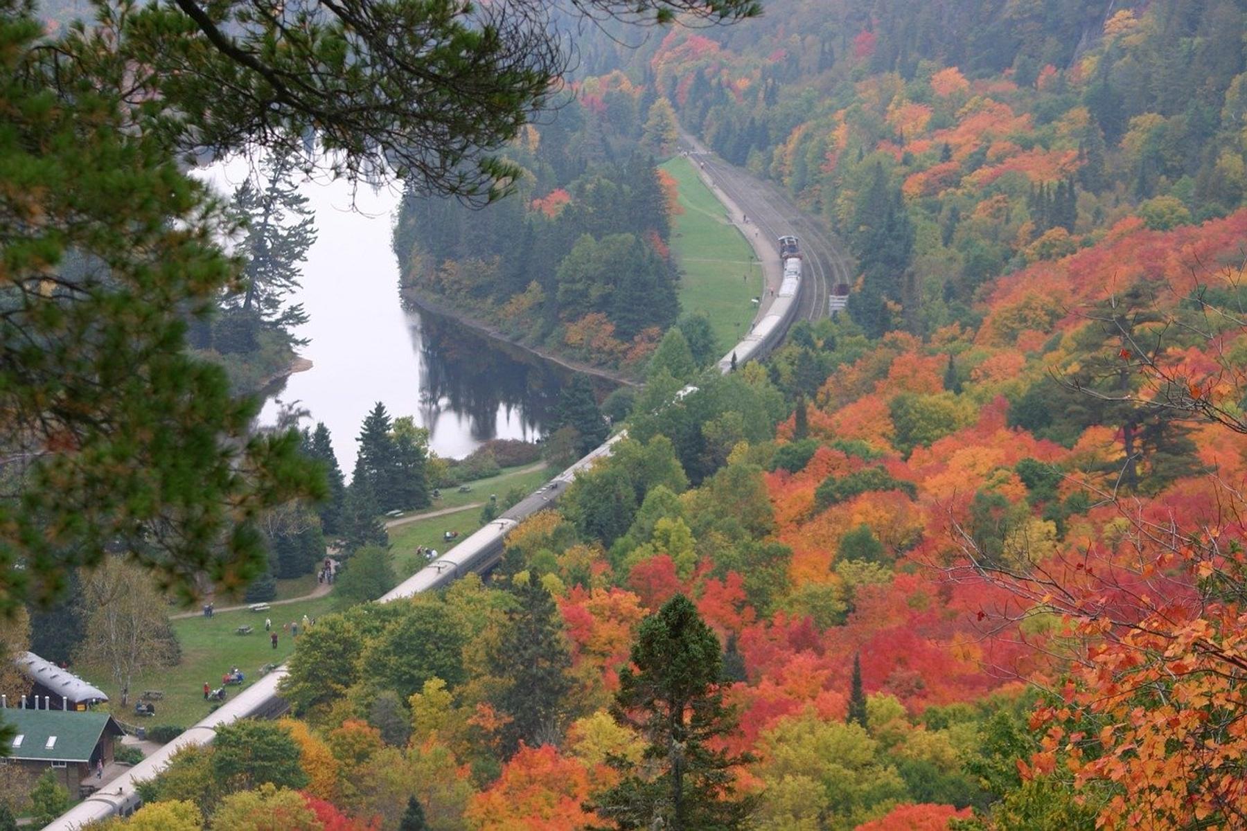 train route and fall foliage at Agawa Canyon in Ontario