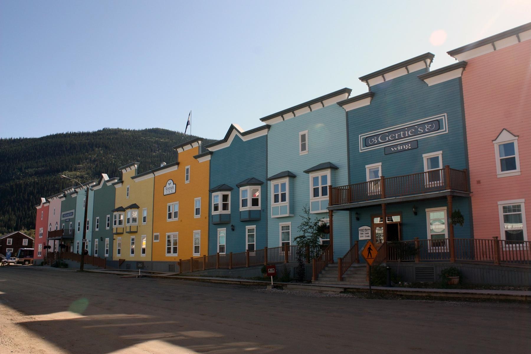 colourful streets in Dawson City