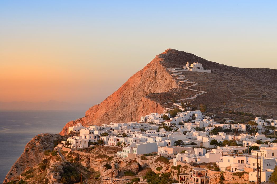Panoramic view of the Greek island of Folegandros at sunset
