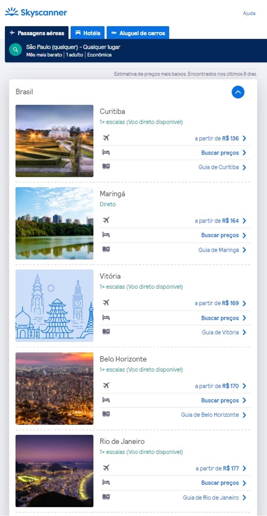 Lista de cidades com voos disponíveis para encontrar passagens aéreas em promoção relâmpago