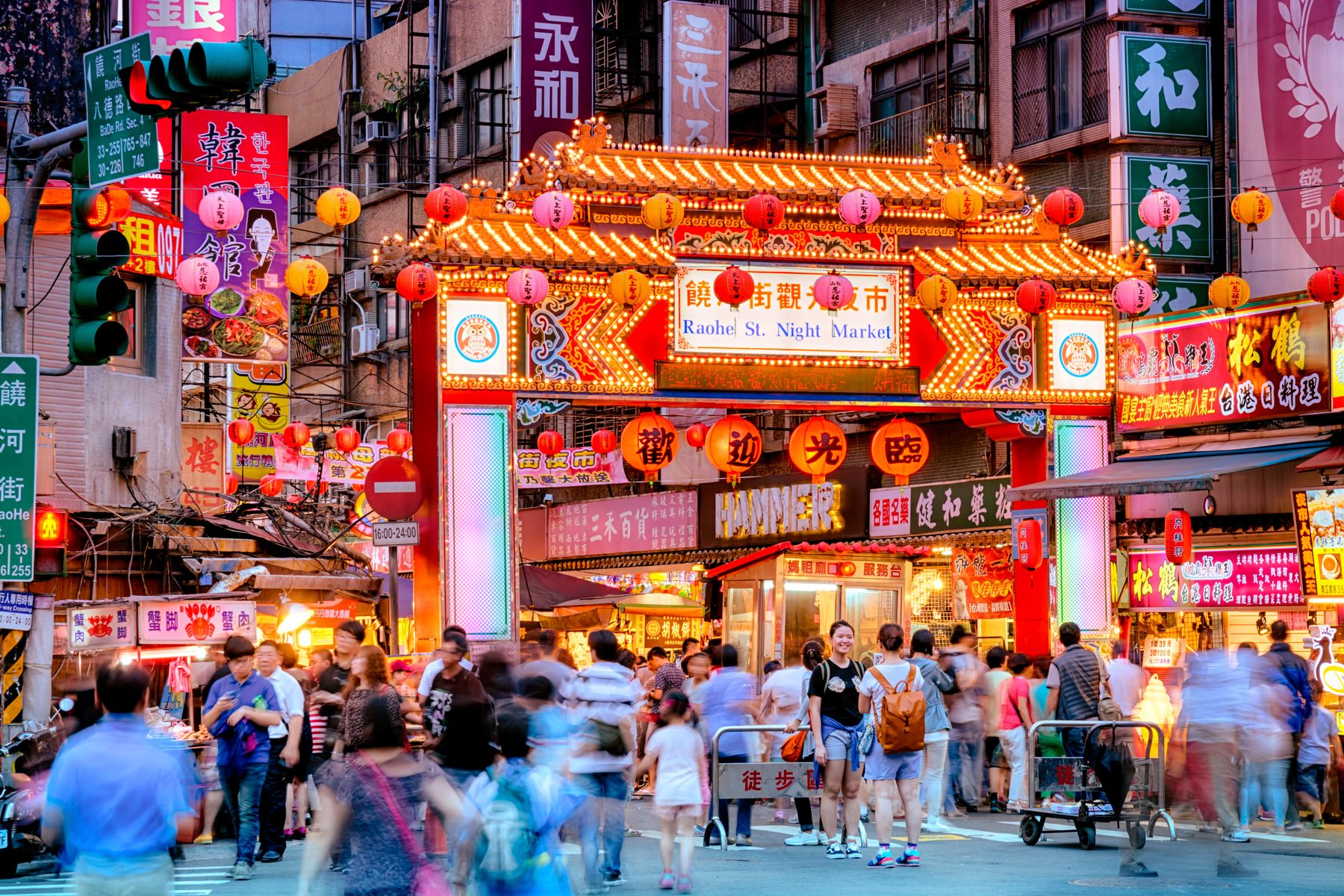 Night market entrance in Taipei, Taiwan, the most gay-friendly city in Asia