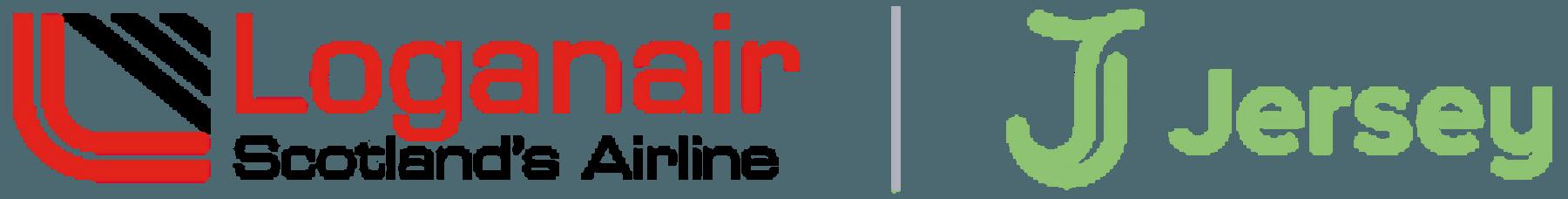 Loganair and Visit Jersey logos