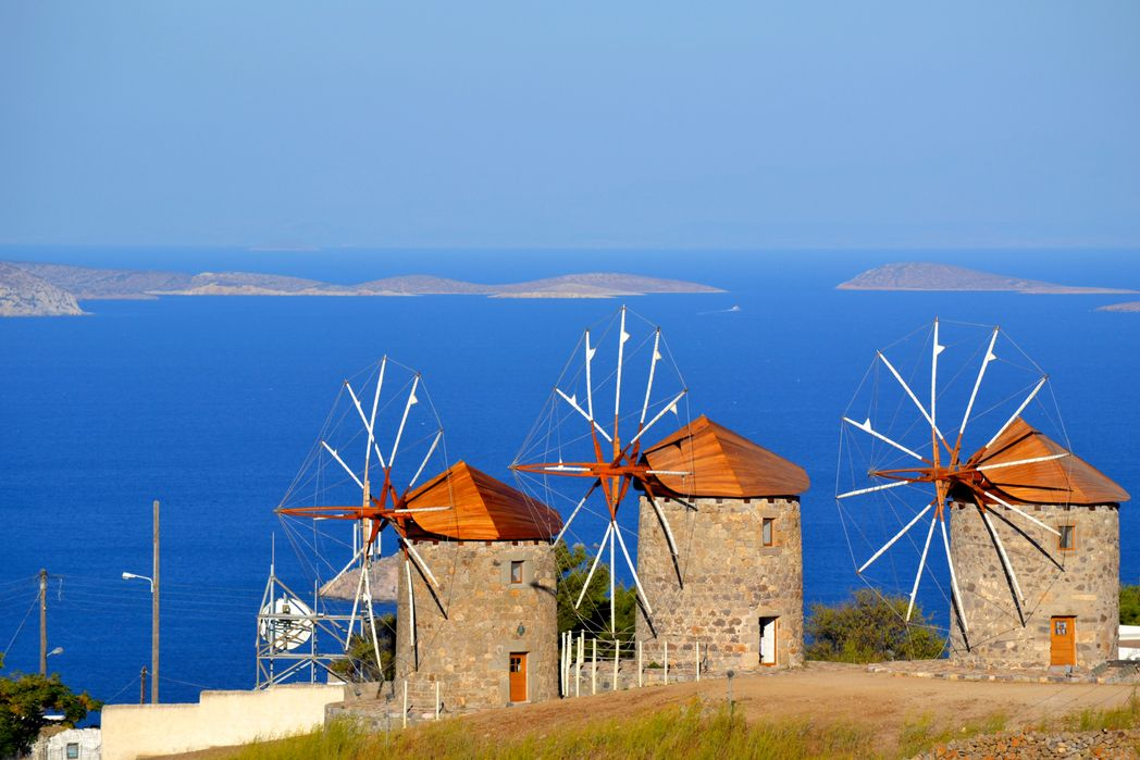 Three windmills on the Greek island of Patmos
