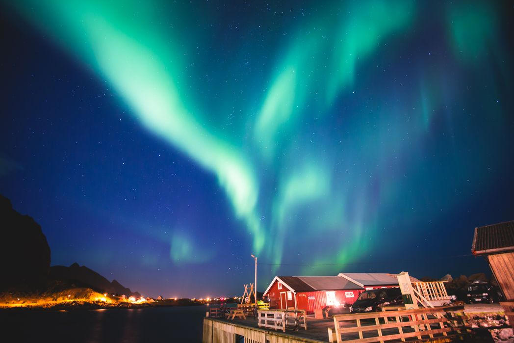 The Aurora Borealis lights up the island's winter skies