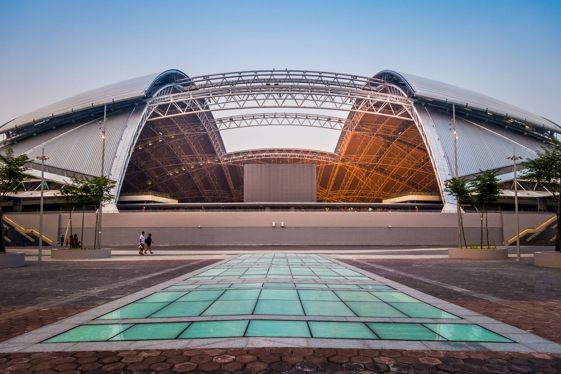 View of the Singapore National Stadium open retractable roof