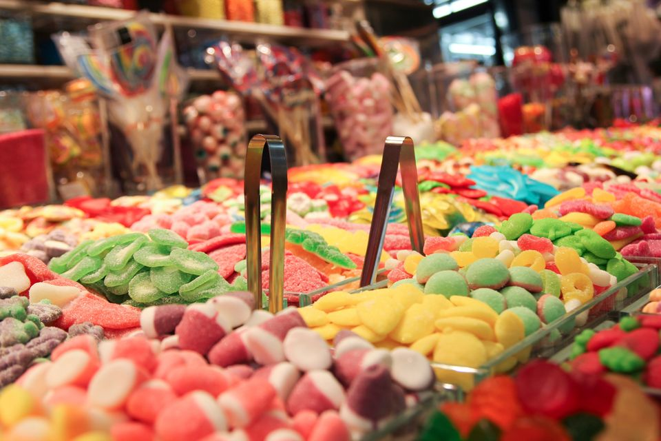 Piles of colourful candy