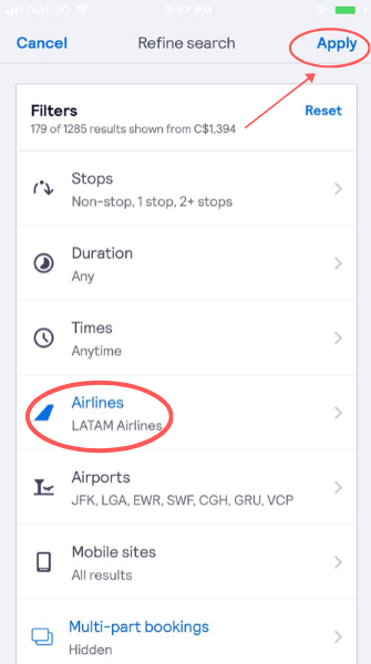 screenshot demonstrating how to filter for LATAM airlines flights on the app