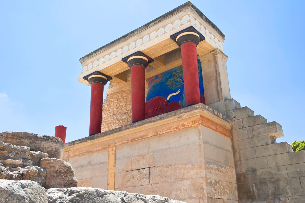 Colorful columns in ancient city of Knossos, Crete