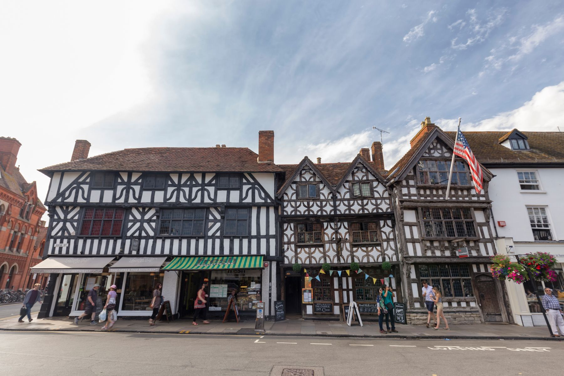 Photo shows traditional beamed Tudor style buildings in Stratford Upon Avon