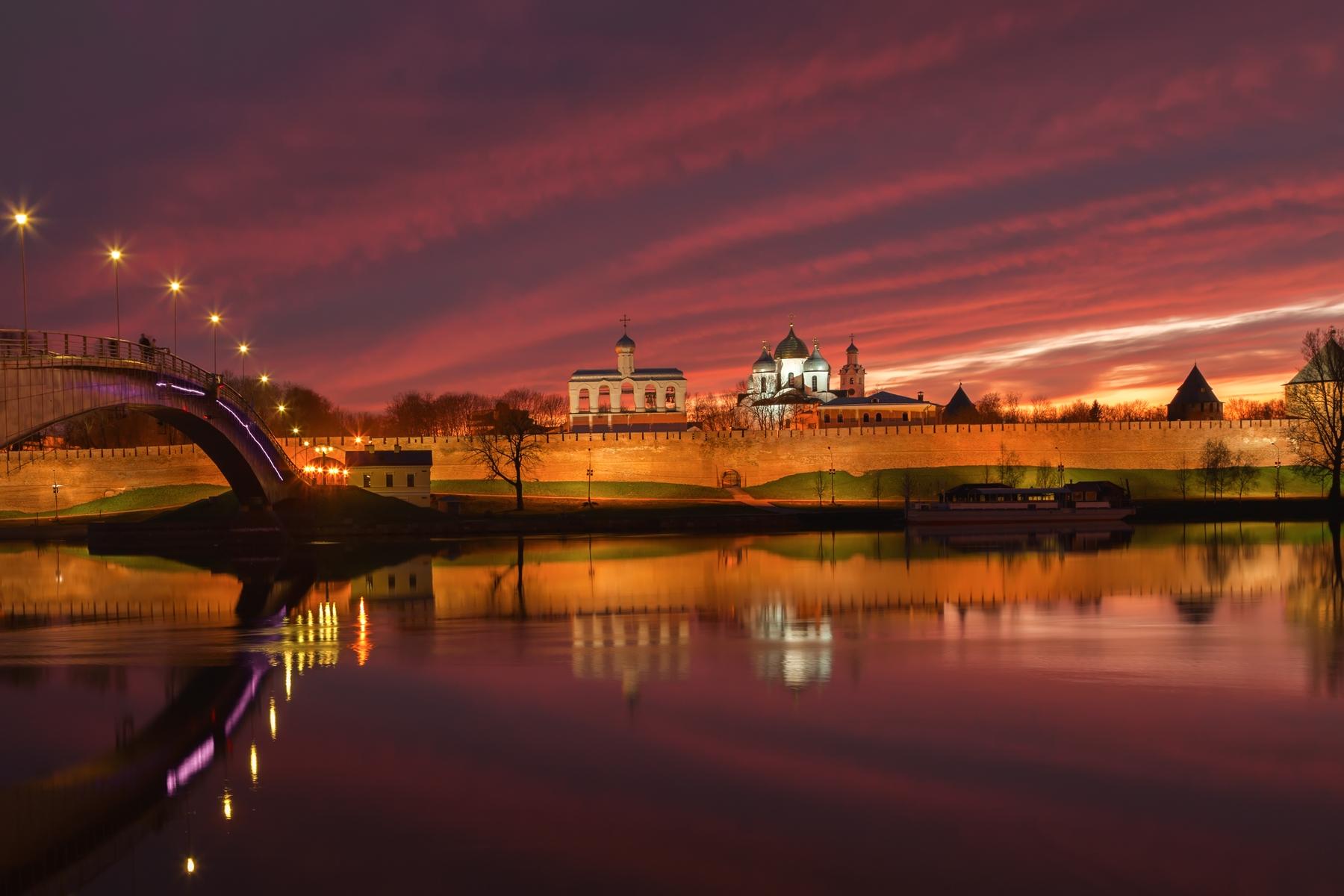 Самые красивые места России. Живописный закат над Новгородом Великим