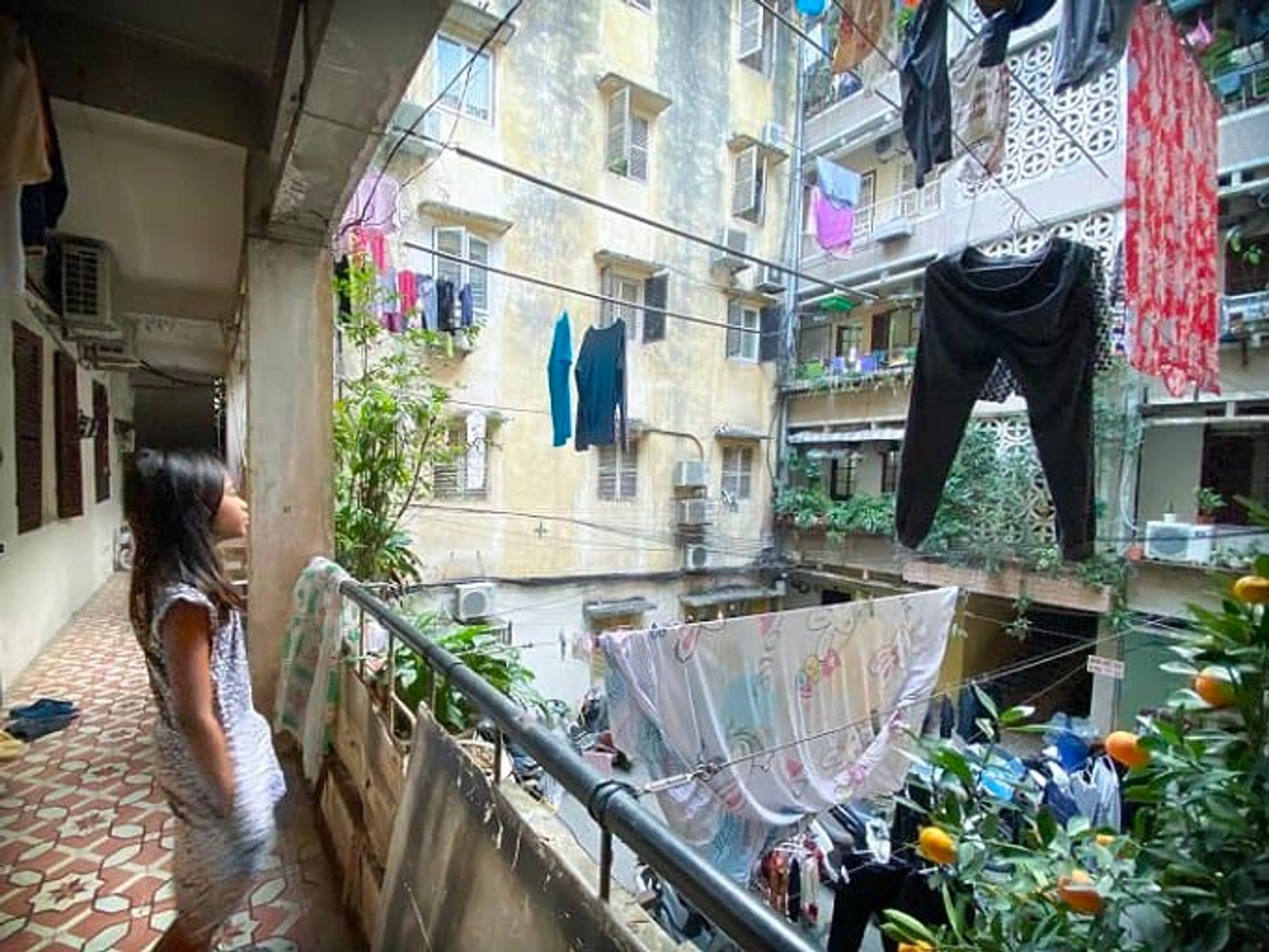 A local apartment building in Hanoi, Vietnam (March 2020)