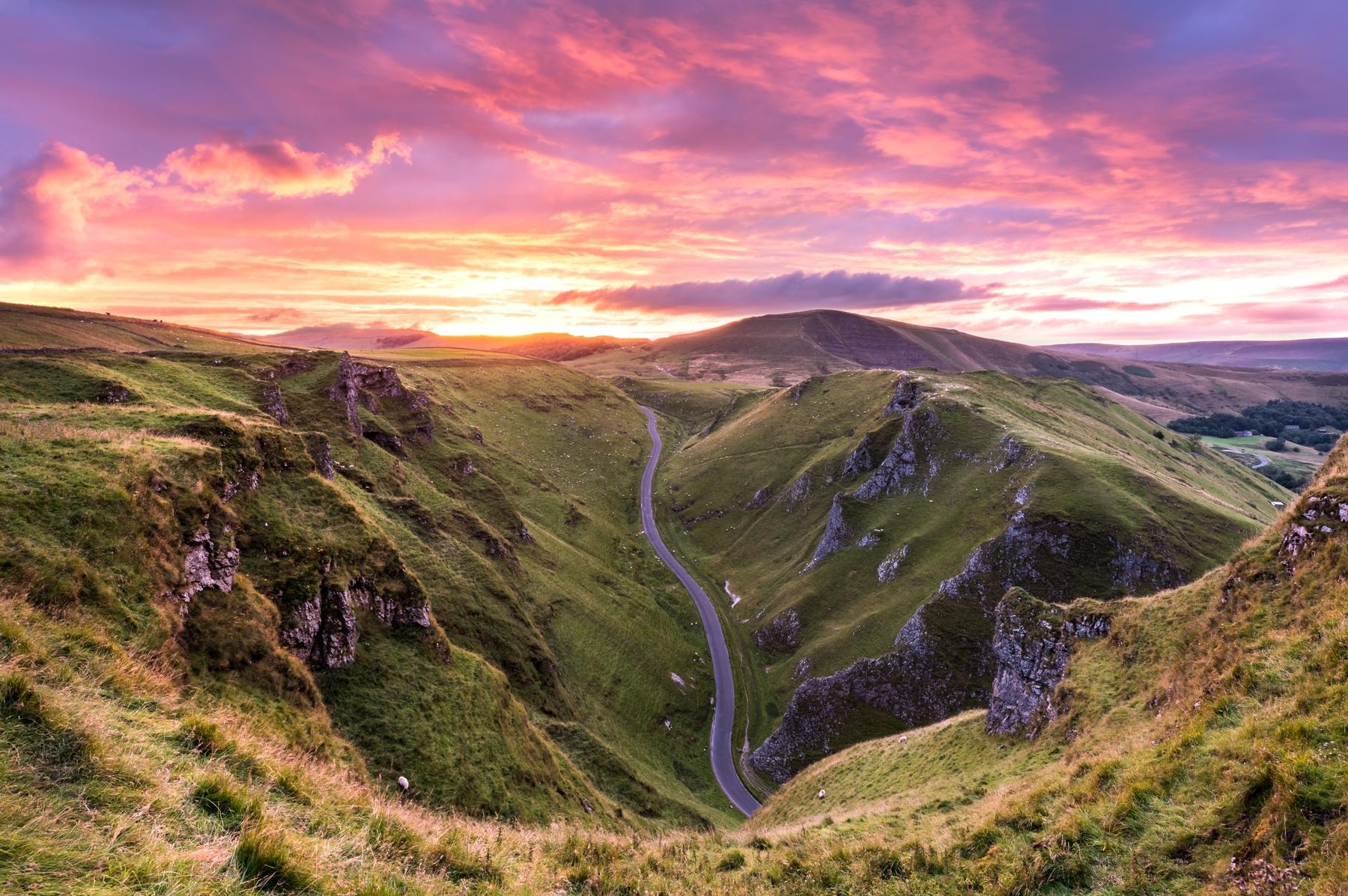 Sunset over Winnats Pass in the Peak District