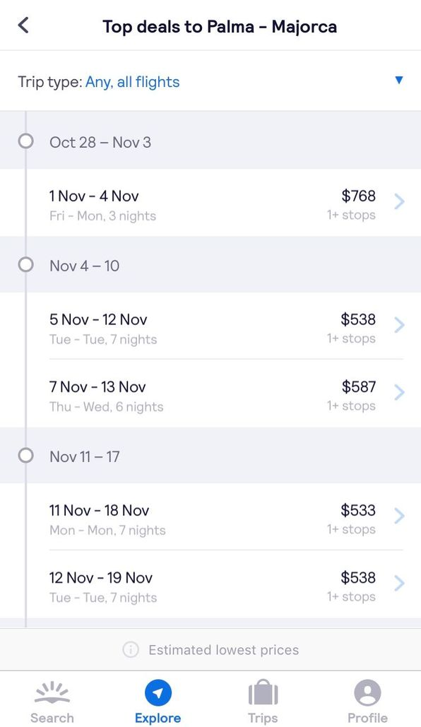 skyscanner app showing several dates and prices