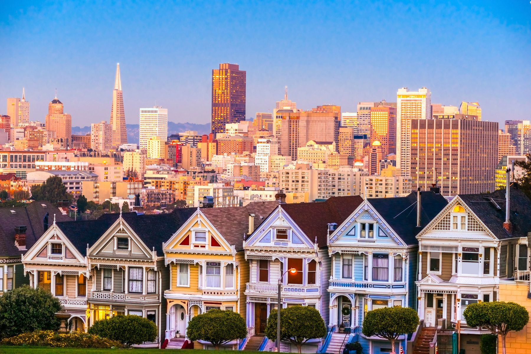 Golden hour over the Painted Ladies and the San Francisco skyline