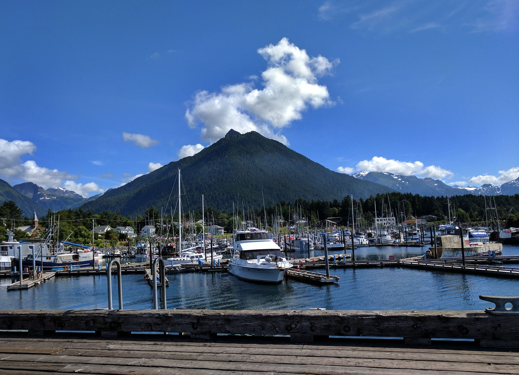Boats at Crescent Harbor in Sitka, Alaska with Mt Verstovia in the background