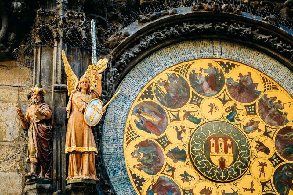 close up of astronomical clock in Prague