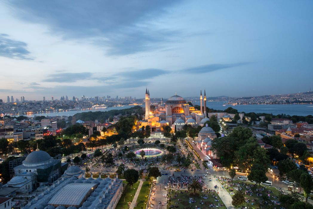 Panorama of the Blue Mosque, Sultanahmet Square, one of the best tourist attractions to visit in Istanbul, Turkey