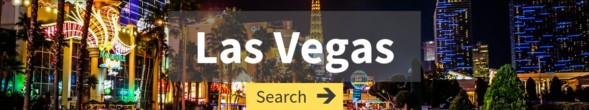 flights to Las Vegas search with Vegas bright lights in the background