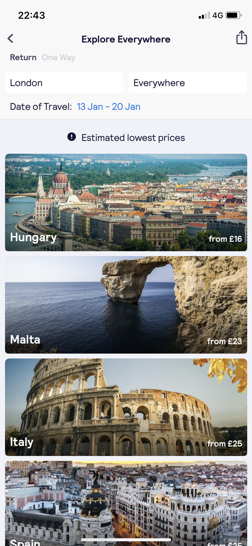 Search 'Everywhere' to find the lowest prices across the world.