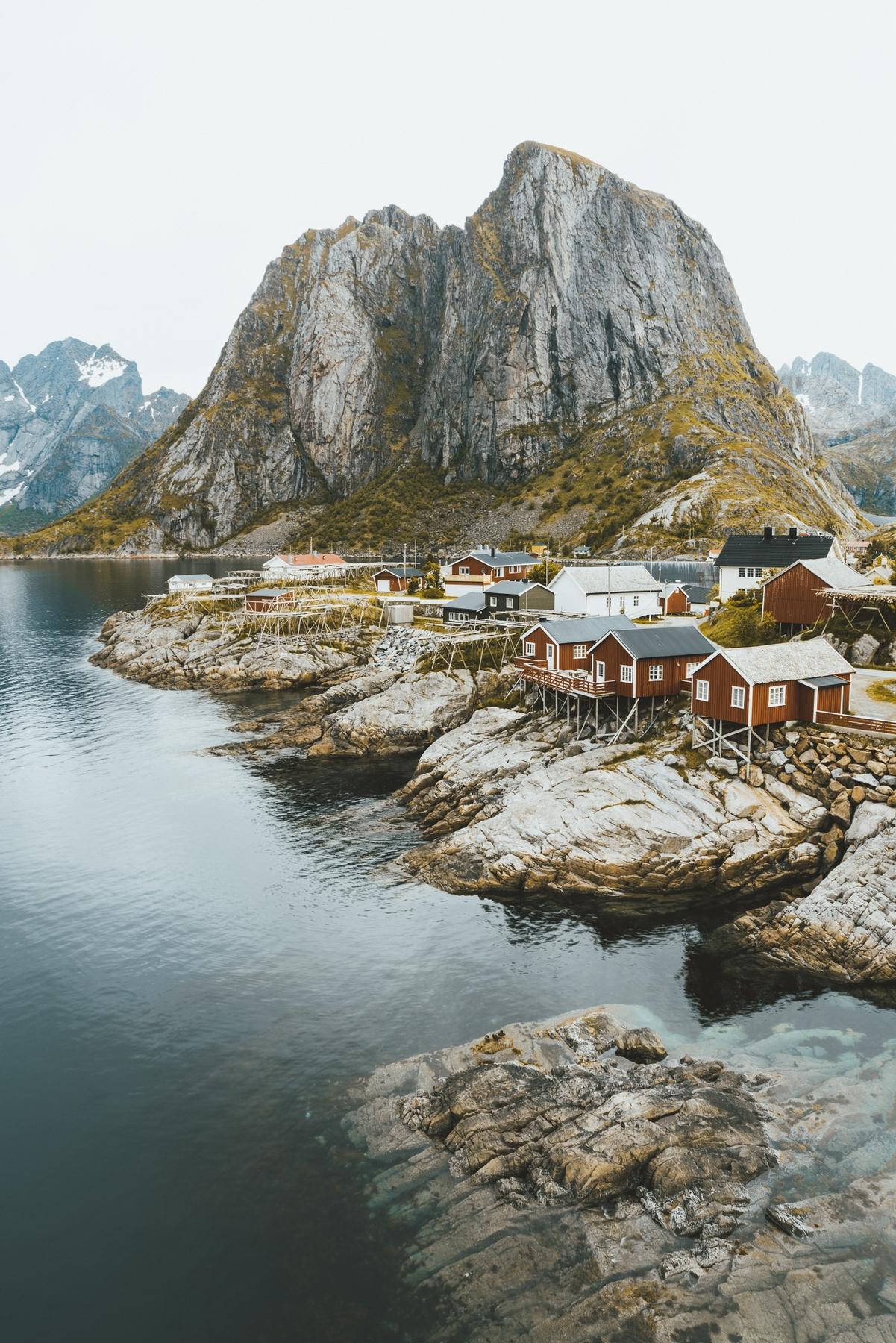 Pueblo de Noruega, uno de los países más fríos del mundo
