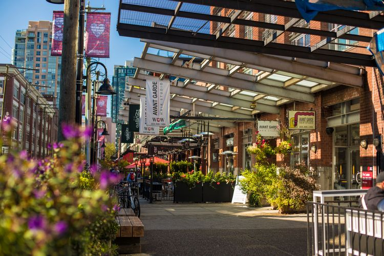 Shops in Yaletown in downtown Vancouver