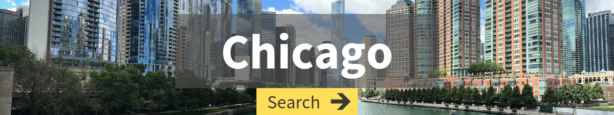 cheap flight search to Chicago with Chicago cityscape in the background