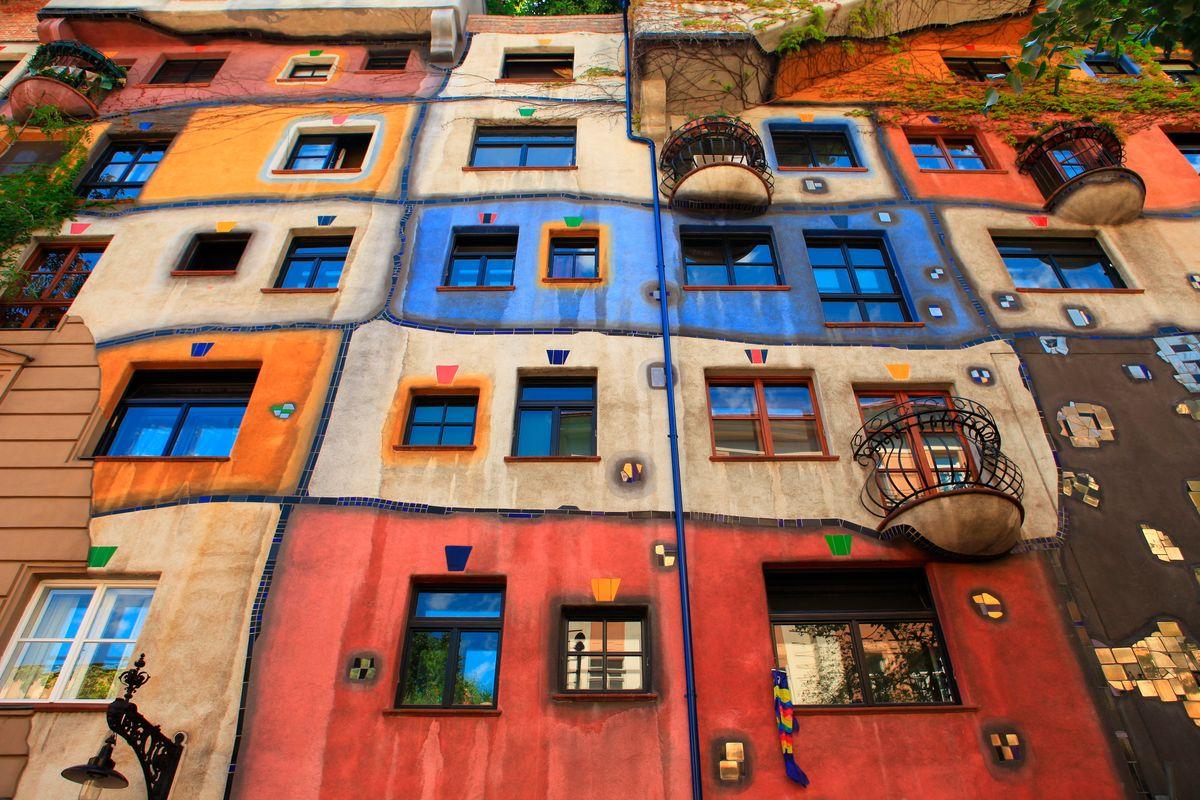 Colourful facade in Vienna, Austria