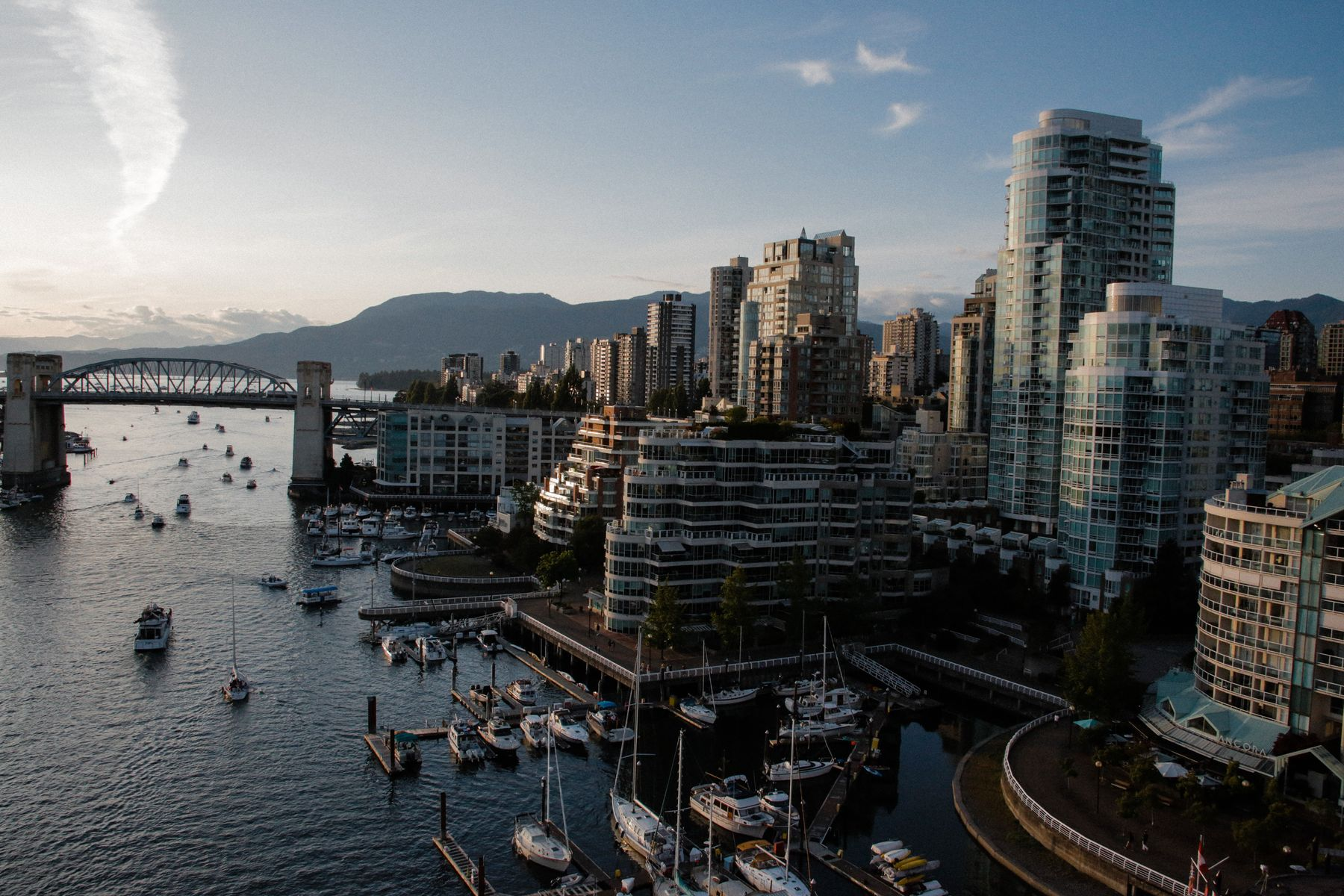 view of Yaletown and Vancouver harbour from above