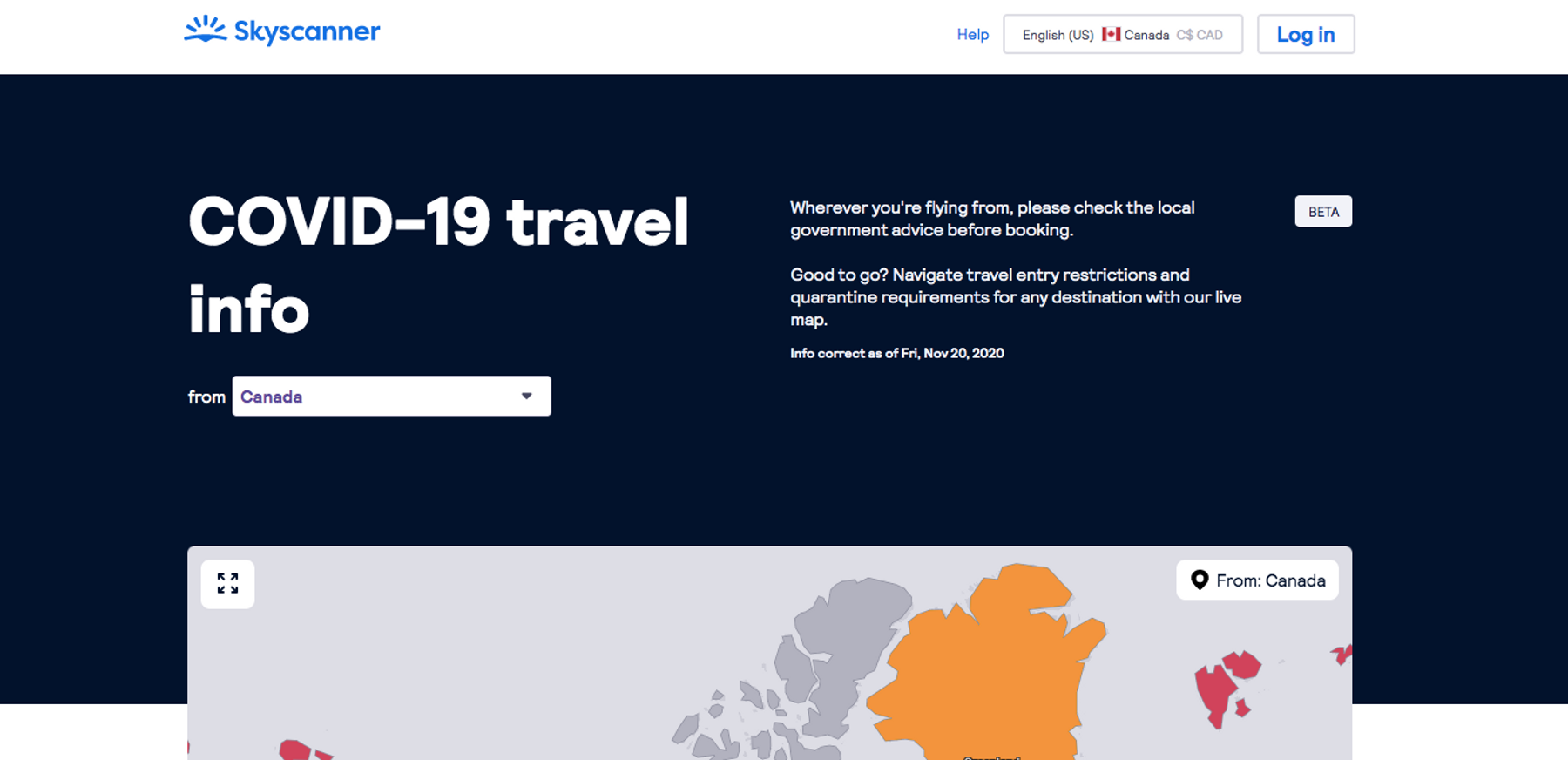where's open for travellers map on Skyscanner Canada