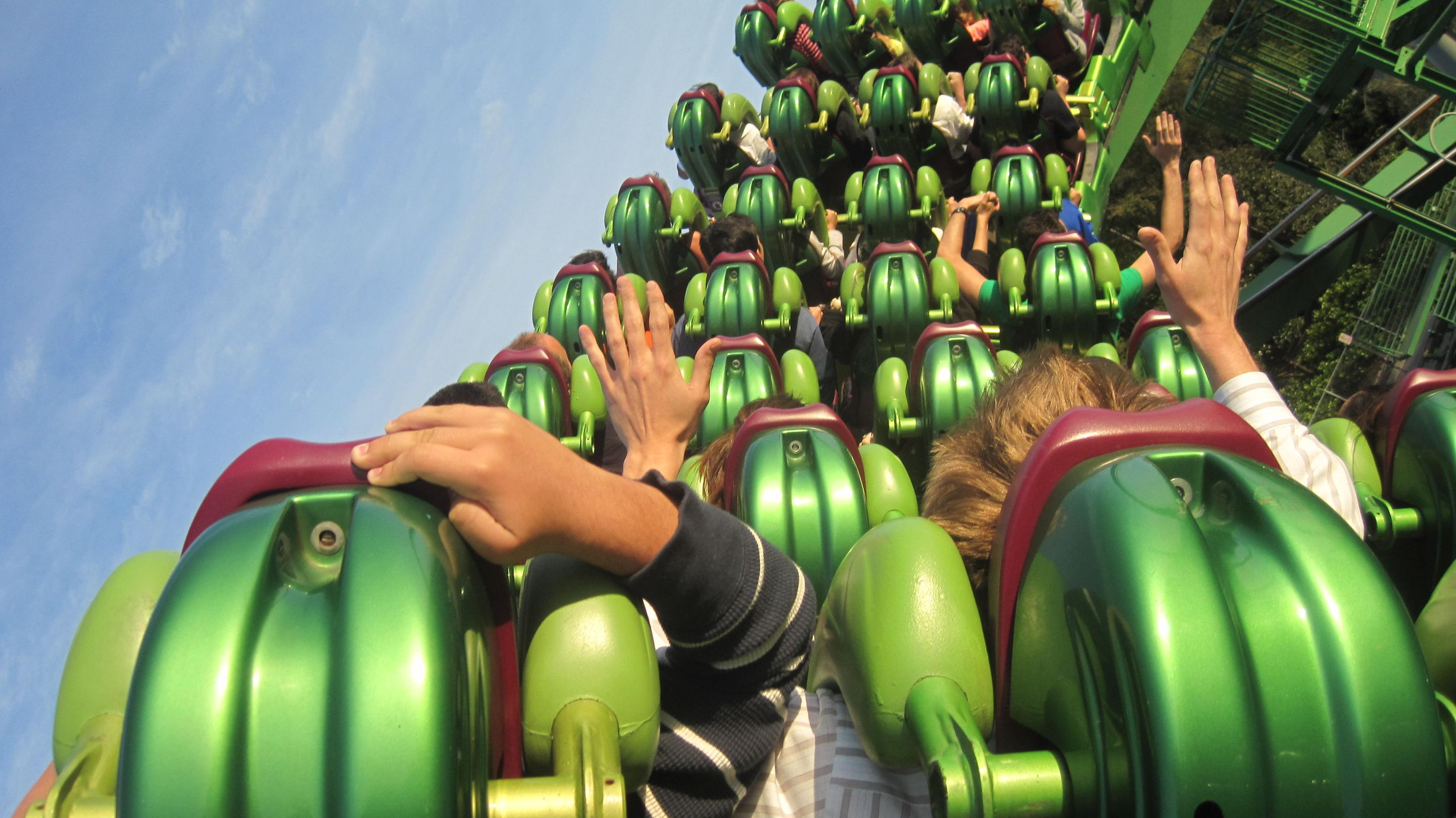A beautiful shot from the perspective of a roller coaster