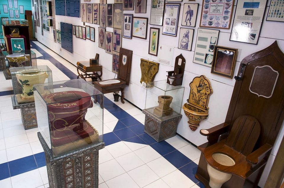view in the museum of toilets in New Delhi