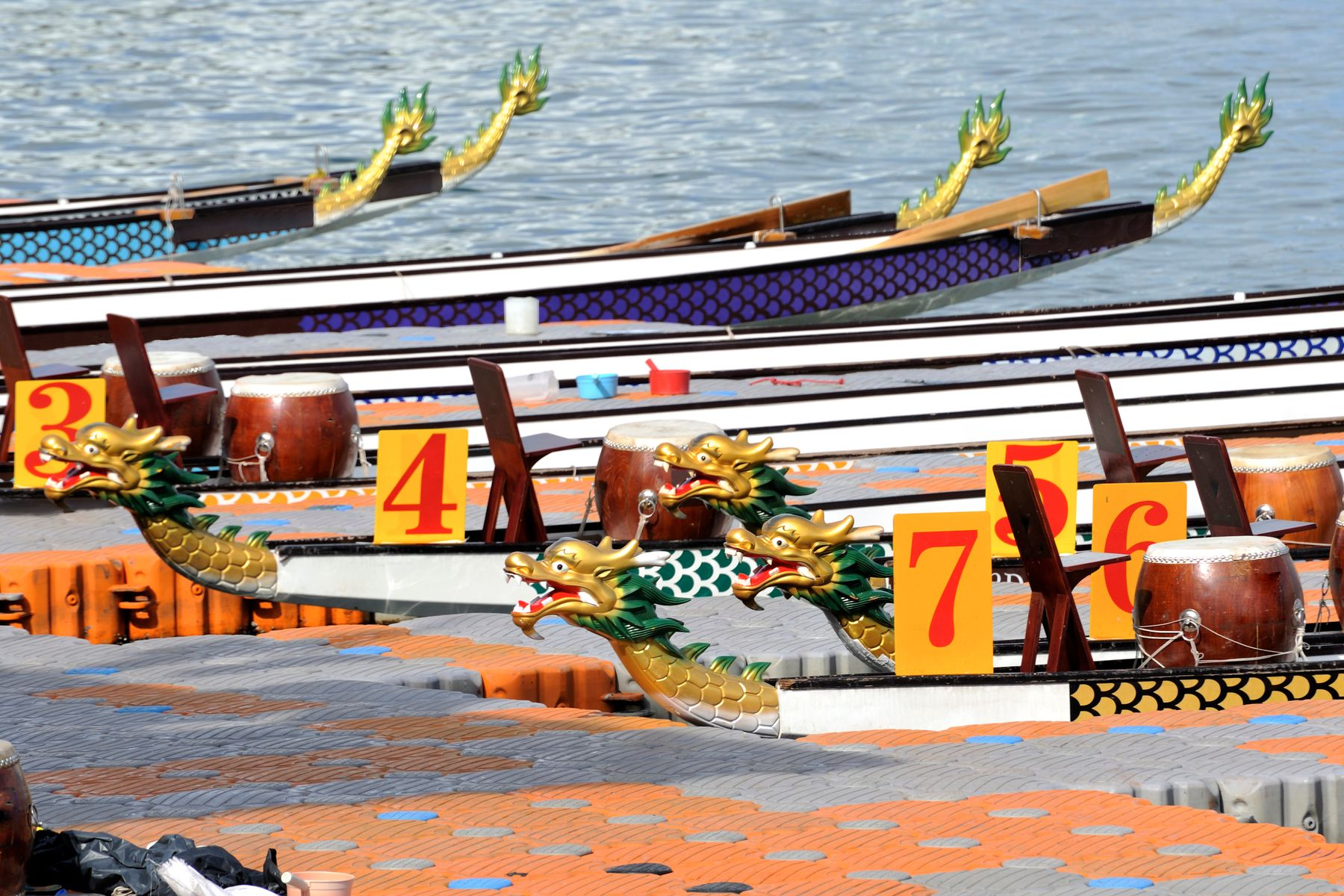 Dragon boats at a dock
