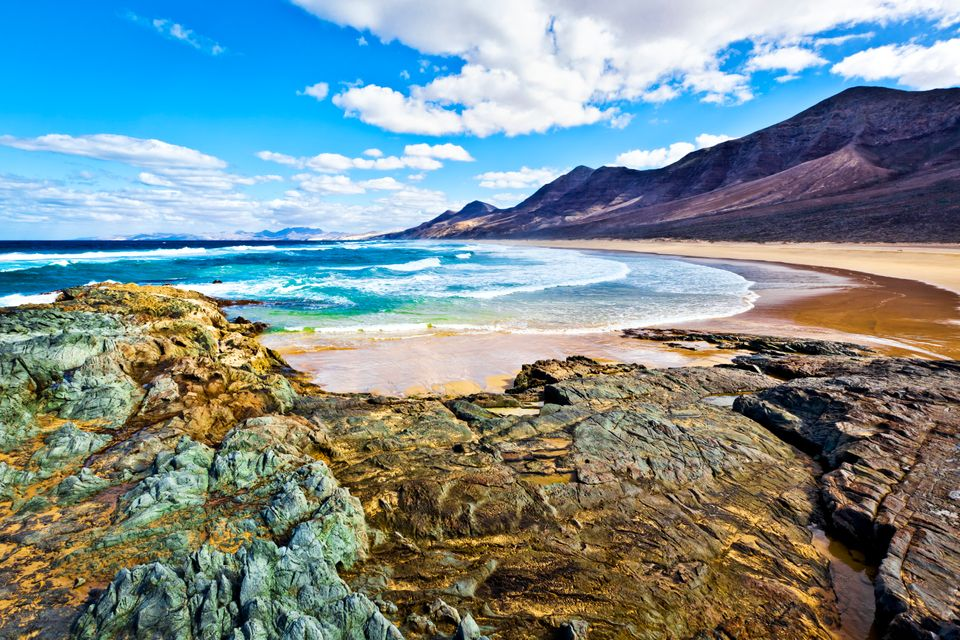 Rocks and blue waters in Fuerteventura, Canary Islands