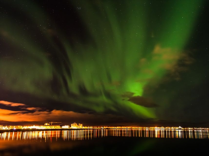 view of the aurora borealis in Iceland