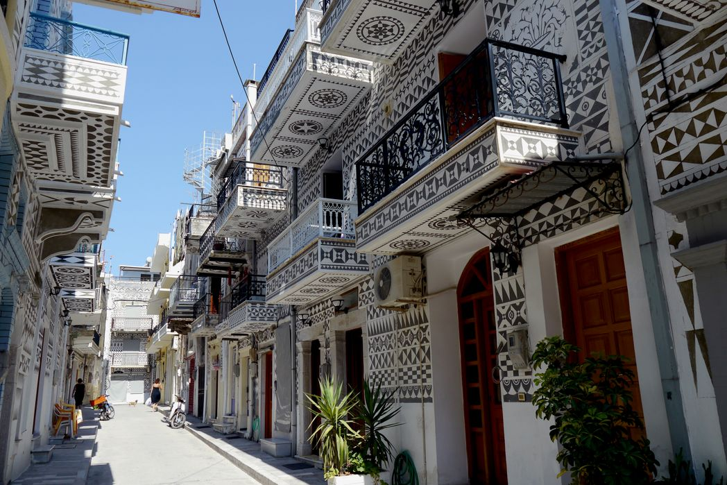 Ornate house fronts in Chios, Greece