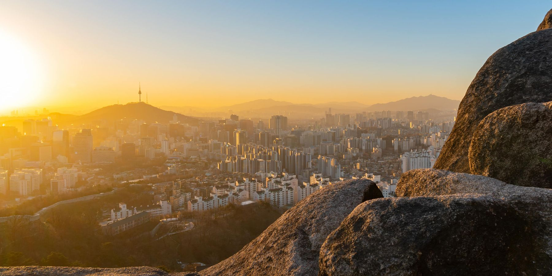 Sunset city view from a mountain