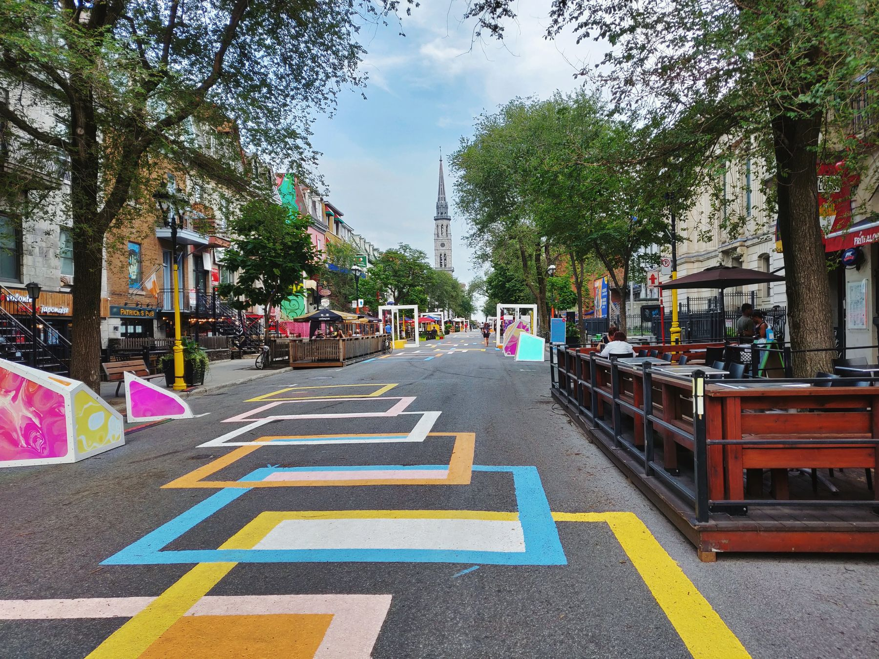 a snapshot of life in Montreal right now. Pedestrian road St-Denis summer 2020