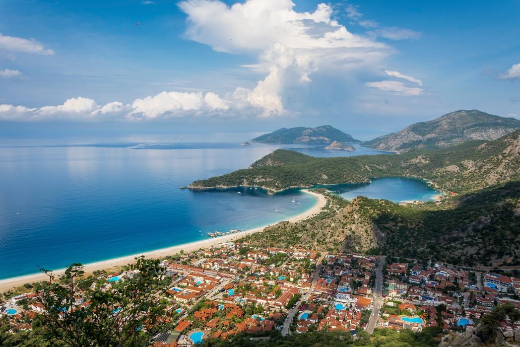 Panoramic view of Oludeniz beach, Fethyie