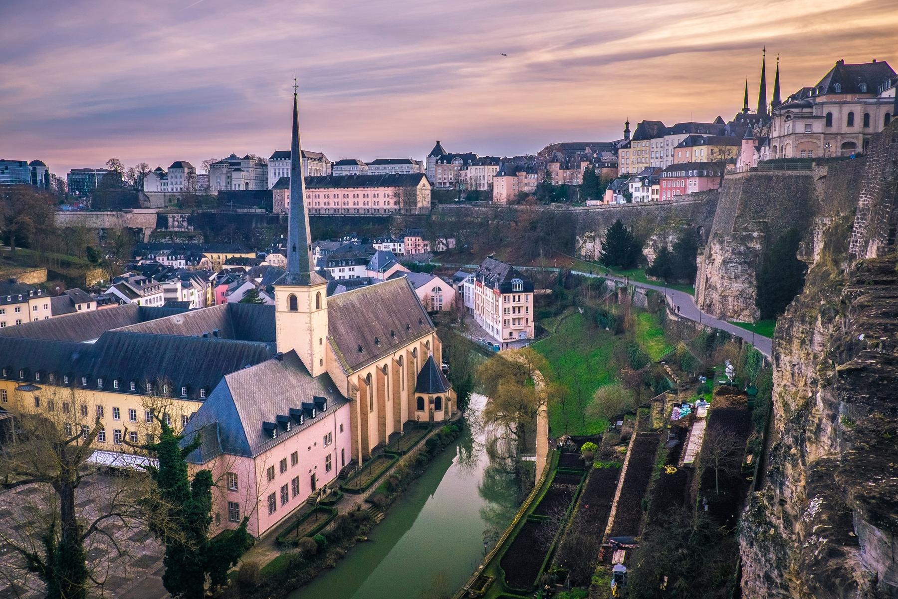 Вид на средневековый центр Люксембурга с высоты