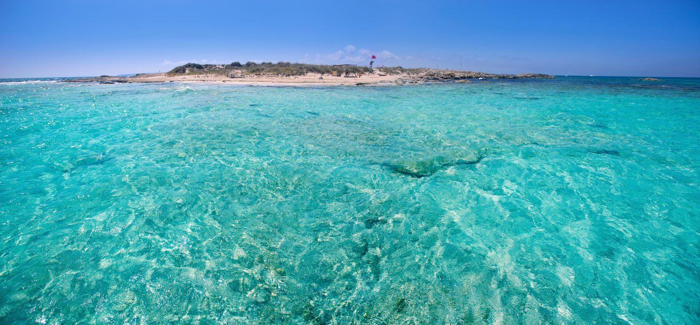 Formentera channel between Ses Illetes beach and Espalmador island, Balearics